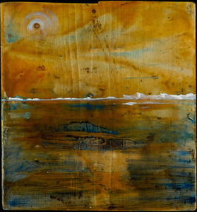 Sharon Hogg 2015 Ex Kathedra Oil and Encaustic on Found Lumber
