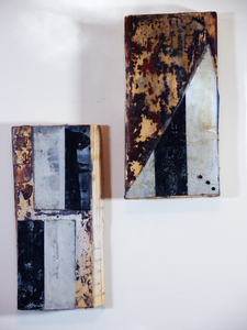 Sharon Hogg 2015 Beneath the Long Grass: The Constructed Canvas Oil paint, Encaustic and Canvas collage on Found Lumber