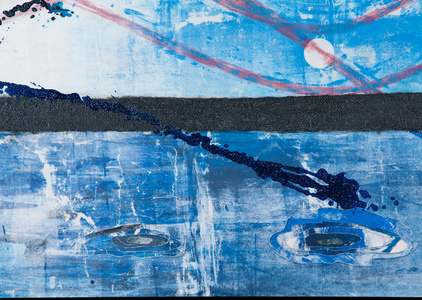 Sharon Hogg 2013 At The Regatta Silkscreen, Ink and Acrylic on Constructed Canvas
