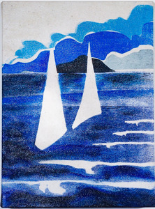 Sharon Hogg 2013 At The Regatta Silkscreen and Acrylic on Raw Canvas