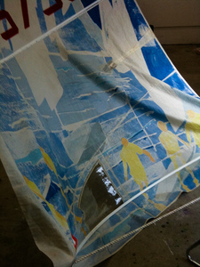 Sharon Hogg 2013 At The Regatta Silkscreen on Vintage Laser Sail