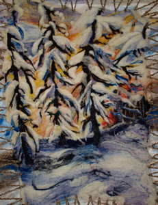 Sharon Hogg 2012 The Land in Close-Up Feltwork and Oilpaint applied to Raw Canvas