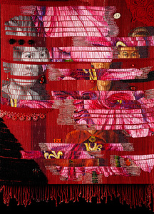Sharon Hogg 2013 Facing Forward Theo Moorman weave with oil on canvas and personal effects inclusions