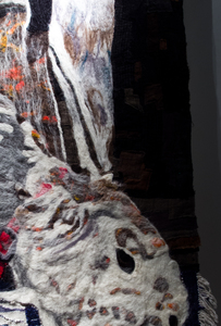 Sharon Hogg 2014 Sunday 2PM Wool Tapestry, Needle Felted Fleece, Patchwork of Over-Dyed Found Woolen Pieces mounted on Burlap and Canvas