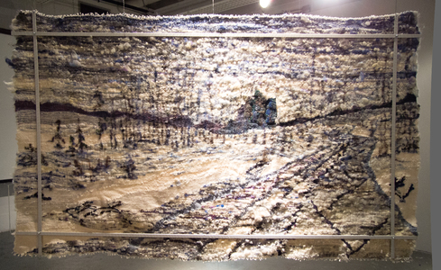Sharon Hogg 2014 Sunday 2PM Fleece, Roving and Single Ply Wool Tapestry (felted after weaving), Aluminum Bars and Found Wood Block