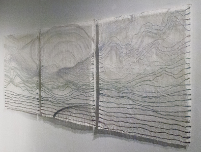 Sharon Hogg 2015 Beneath the Long Grass: The Constructed Canvas Transparent Tapestry of Bleached Linen and Wool