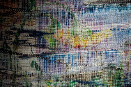 Sharon Hogg 2014 Sunday 2PM Wool Silk Mohair Tapestry of Plain and Twill Weave, on Painted Warp with Found Windows