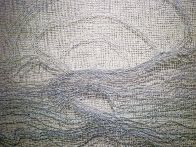 Sharon Hogg 2014 Sunday 2PM Transparent Tapestry of Bleached Linen and Wool