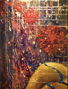 Sharon Hogg 2014 Beneath the Long Grass Oil, Encaustic and Raw Canvas on Mahogany Panel