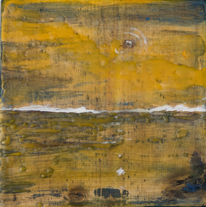 Sharon Hogg 2014 Beneath the Long Grass Oil and Encaustic on Reclaimed Garage Floorboard