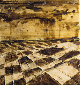 Sharon Hogg 2014 Beneath the Long Grass Bitumen, Canvas, Kitchen String and Encaustic on Reclaimed Garage Floorboard