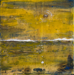 Sharon Hogg 2015 Beneath the Long Grass: The Constructed Canvas Oil and Encaustic on Reclaimed Garage Floorboard