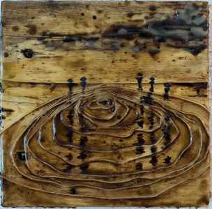 Sharon Hogg 2015 Beneath the Long Grass: The Constructed Canvas Bitumen, Kitchen String and Encaustic on Reclaimed Garage Floorboard
