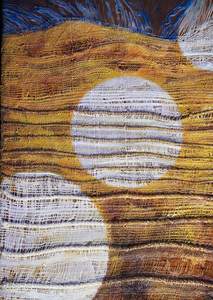 Sharon Hogg 2015 Beneath the Long Grass: The Constructed Canvas Oil, Encaustic and Cotton, Jute, Wool Tapestry on Cherry wodd Panel