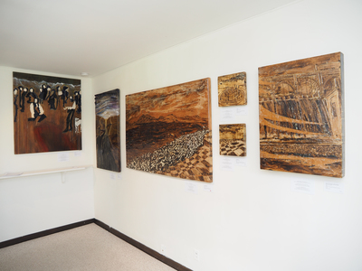 Sharon Hogg 2015 Beneath the Long Grass: The Constructed Canvas, Leighton Arts Centre