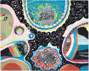 SHARON HORVATH Cosmicomics: Paintings 2014 Pigment, Ink, Polymer on paper on canvas