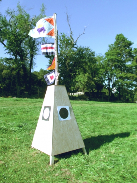 Sheila Ross Cow Semaphore Nylon Fabric, flags, wood, paint, found log