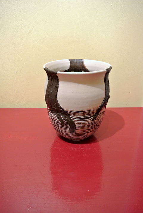 Sheila Ross Decorative Vessels 2013-2015 Partially glazed white stoneware with black slip