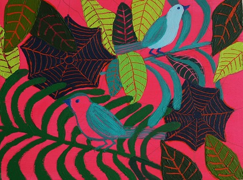 Sheila Ross bird paintings Acrylic on Panel