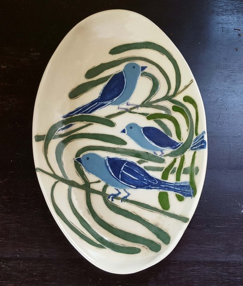 Sheila Ross Birds and Panthers Glazed stoneware