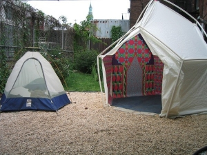 Sheila Ross Yurt City Yes and No, tent, wood, paint, Yurt is Prefab yurt, digital prints on viny