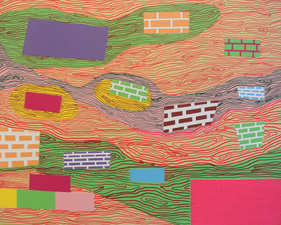 Sheila Ross Painting Acrylic and marker on panel