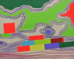 Sheila Ross Painting Acrylic and Permanent Marker on panel