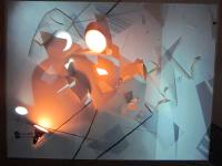 Sideshow Montclair State University 2011 MFA Studio Arts Thesis Exhibition mixed media installation (paper, lights, acrylic paint, video projection)