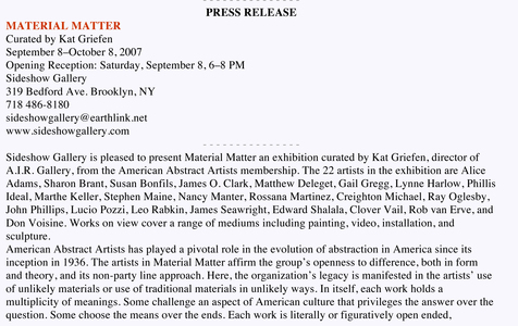 Sideshow Gallery Material Matter: American Abstract Artists