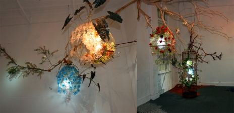 Soyeon Cho Installation Glass, Birdcages, Tree, Artificial Leaves, Light