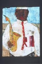 STACIE SPEER SCOTT Musicians mixed media on paper