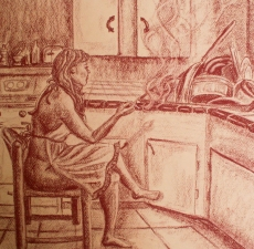Stephanie Pierro Drawings Conte Crayon on Paper