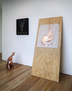 Stephanie Taylor 2012 silkscreen, copper plated bronze cast, fabric and plywood.