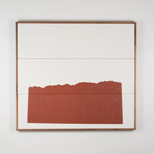 STEUART PITTMAN NEW Oil and acrylic on cotton triptych with walnut frame