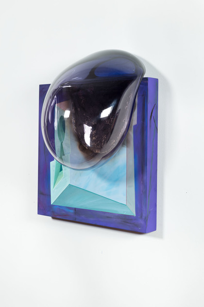 Steve DeFrank Current Work Casein, blown glass, wood panel