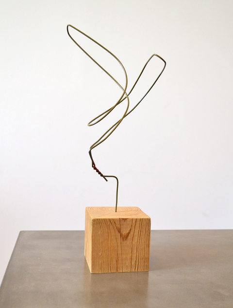 Steven Baines lazy sculptures clothing hanger and wood block