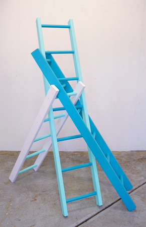 Steve Rossi Reciprocal Ladders Wood and acrylic latex