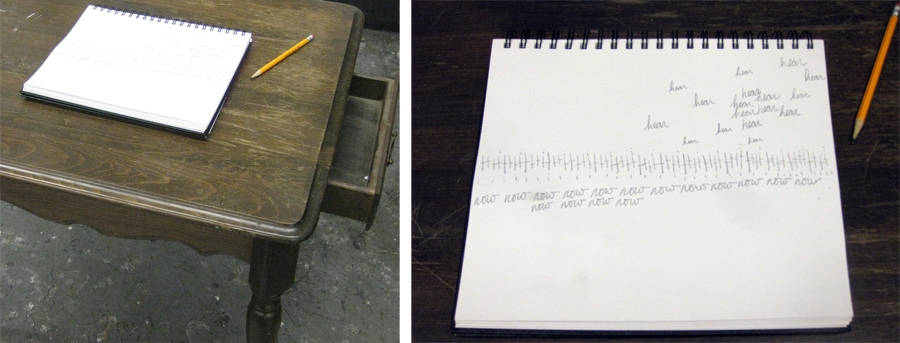 Steve Rossi Student Work Found wood table, pencil on paper, and audio recorder