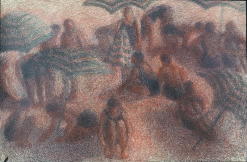 Drawings Bathers with Umbrellas