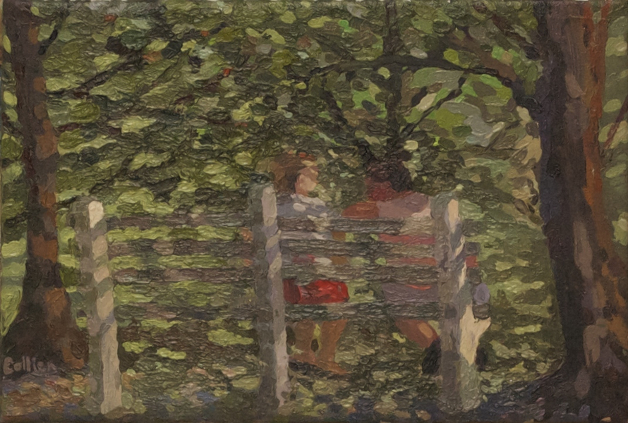 Paintings Couple on a Bench