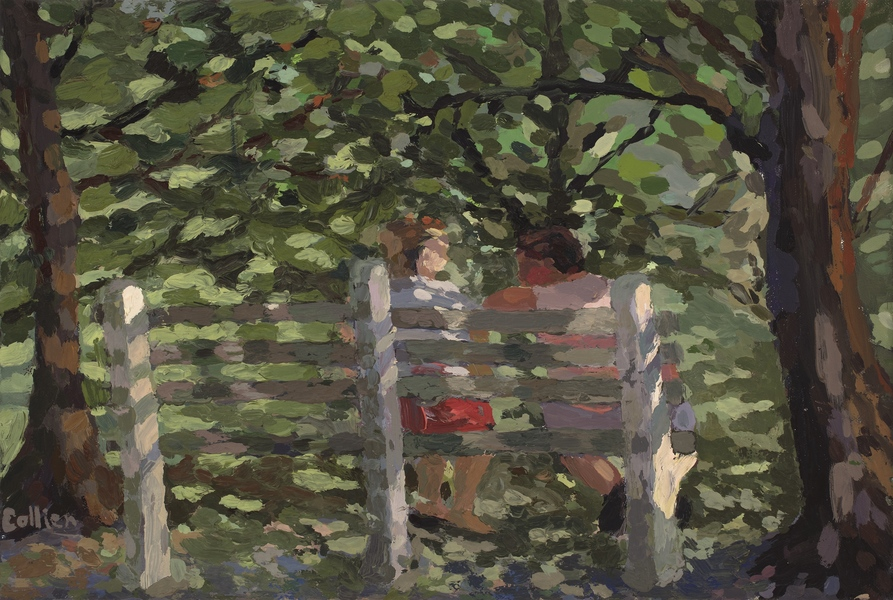 Paintings Couple on Bench