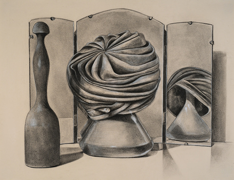 SUE JOHNSON Still life, drawings (2015-17) Charcoal and pencil on paper