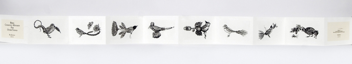SUE JOHNSON Birds Commonly Mistaken for Other Things Intaglio prints, inkjet, chine colle in an accordion book