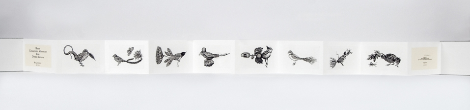 SUE JOHNSON Birds Commonly Mistaken for Other Things Intaglio prints in accordion book