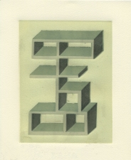 SUE JOHNSON Imaginary Shelves (reduction relief prints) Unique relief reduction print