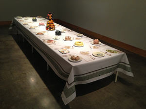 SUE JOHNSON American Dreamscape Printed vinyl tablecloth, ceramics from the Incredible Edibles series