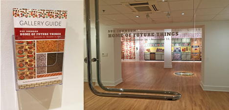 SUE JOHNSON Home of Future Things (2016) Prints on vinyl with floor decals and found objects (mid-century telephones)