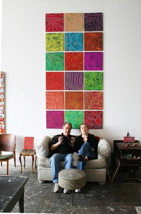 "large paintings Dobbin St. Studio. Jim Klein & Sue Kovacs with ""Dune Geometry"" wall tapestry."
