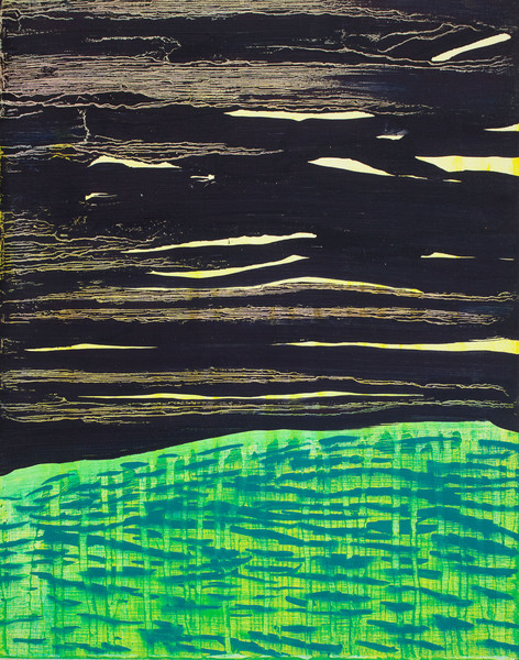 Abstract Night Grass 2 / oil on wood / 11 inches high by 9 inches wide / 2015