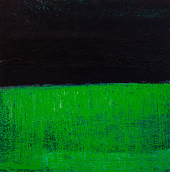 Abstract Night Grass / oil on wood / 10 inches by 10 inches / 2015